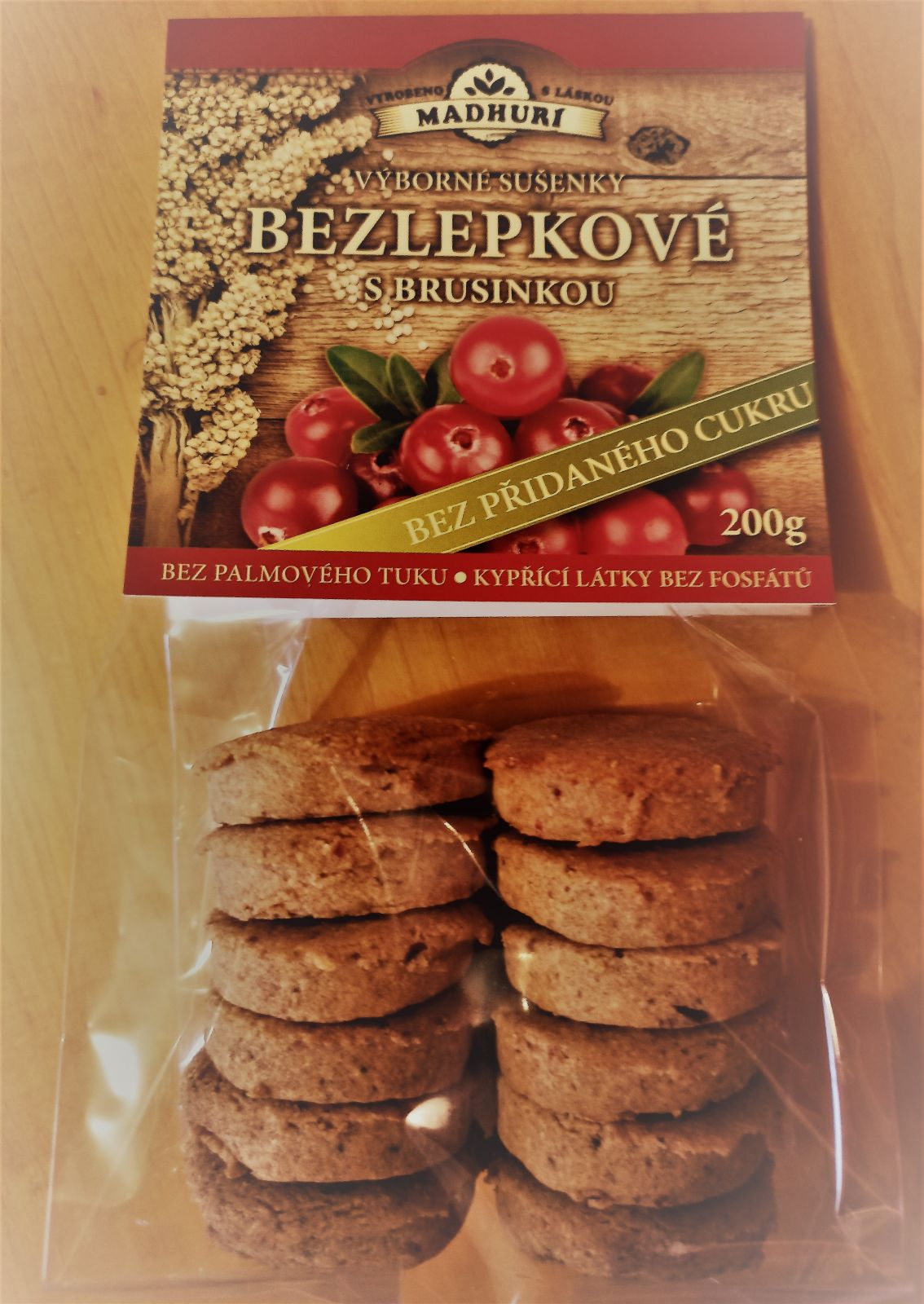 Bezlepkové sušenky brusinka