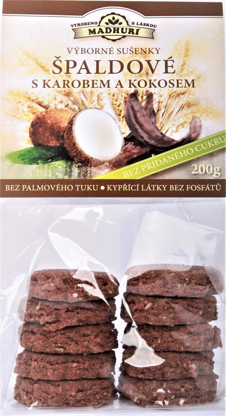 Špaldové měkké sušenky s Karobem a kokosem bez přidaného cukru