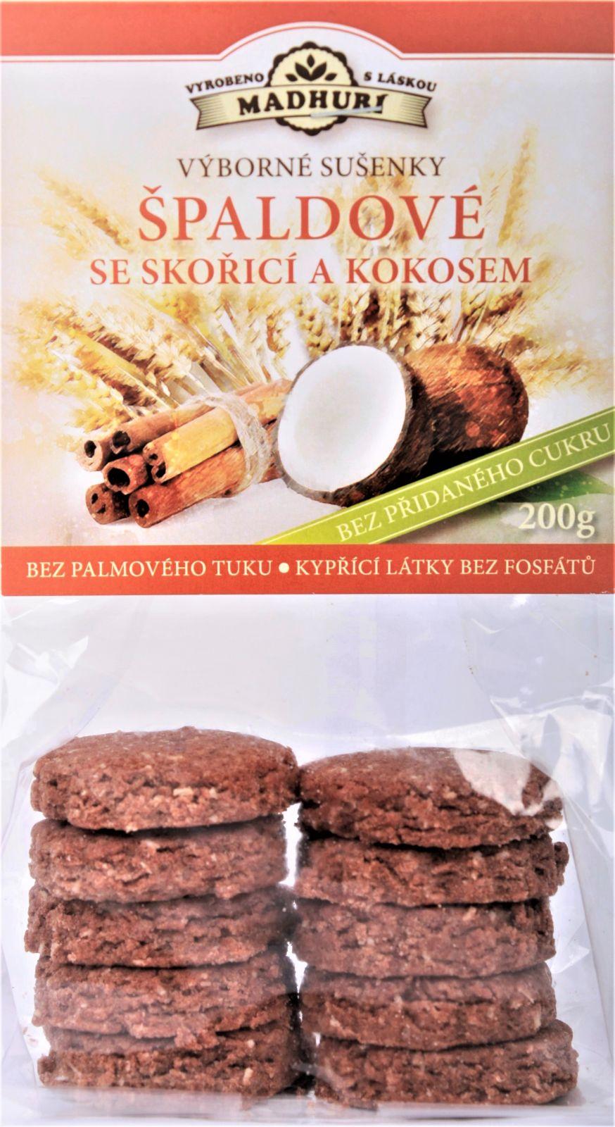Špaldové měkké sušenky se skořicí a kokosem bez přidaného cukru